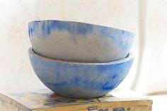 Cuencos de cemento azul - accesorios y decoración para el hogar - hecho a mano - en DaWanda.es