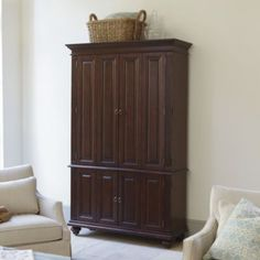 I like the shallow depth of this armoire. 81 X X Slim Chadwick Media Armoire Media Furniture, Home Furniture, Living Room And Kitchen Design, Tv Armoire, Media Cabinet, Ballard Designs, Adjustable Shelving, Home Organization, Tall Cabinet Storage