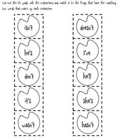 frog themed contractions...cute!