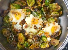 This fried egg dish combines brussels sprouts, baby bella mushrooms, garlic, onion, and toasted walnuts to create an unbeatable flavor sensation.
