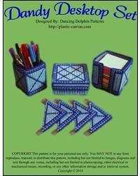 Dandy Desktop Set: Plastic Canvas Pattern by [Patterns, Dancing Dolphin ] Crochet Christmas Ornaments, Canvas Designs, Desk Set, Plastic Canvas Patterns, Dandy, Needlepoint, Desktop, Cross Stitch, Dancing
