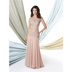 Formal A Line Cap Sleeve Nude Chiffon Lace Beaded Mother Of The Bride Evening Dress
