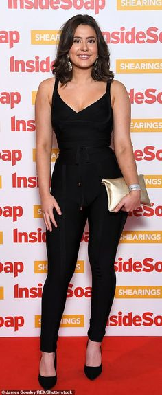 Work it: Jasmine Armfield wore a stylish black unitard with matching coloured heels and a . Curvy Women Outfits, Fashion Tips For Women, Clothes For Women, Fashion Ideas, Womens Fashion, Natalie Sawyer Hot, Panty Images, Sleeveless Outfit, Dressing Sense