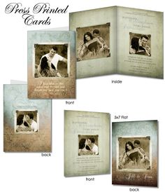 Wedding Invitation Templates - SOMETHING OLD - (4) Press Printed , Flat & Folded Card  Digital Templates for Photographers.. $14.99, via Etsy.