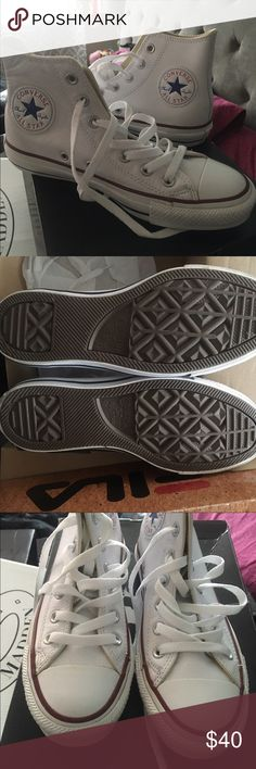 Leather Converse Women's sz 6.5 genuine leather classic All star high top converse. Worn once, excellent condition Converse Shoes Sneakers