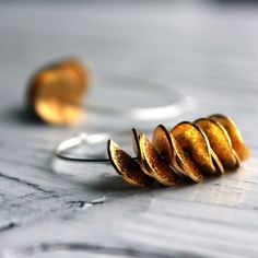 Large Hoop Ruffle Earrings in Sterling Silver with Gold Ruffle - Mixed Metal Petals Modern Minimalist Under 30 Gift