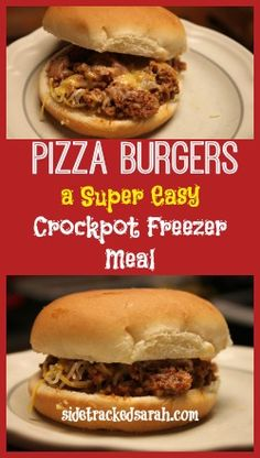 [Pizza Burgers - An Easy Crockpot Recipe - Sidetracked Sarah] - Worked really well, a lot like sloppy joes, & very easy to make