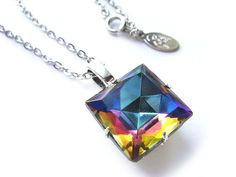 Rainbow Square Swarovski Crystal Necklace by BreatheCouture
