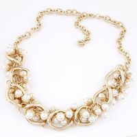 Cadena de Metal perlas mujeres gargantilla Collar moda Joker moda oro cadena de accesorios de cuello para para joyas Colar Feminino