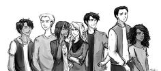 The Seven. I like how Piper is whispering to Annabeth but she is just like ATTITUDE. And how Frank is turned away like he is only concerned with protecting Hazel. Then there's Percy acting all suave and Leo giggling like Jason just muttered a joke to him. In short, I love these guys and this pic captured their characters :D