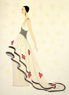 """Rose Gown"" by Erté (Romain de Tirtoff), Russian-born French artist. (1892 – 1990)"