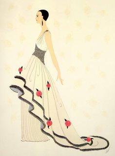 """Rose Gown"" by Erté (Romain de Tirtoff), Russian-born French artist. (1892 – 1990)"