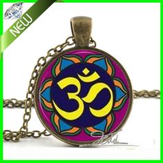Vintage Om YOGA Schmuck Muslimischen Halskette Om Symbol Buddhismus Zen Meditation Mandala Kunst Anhänger Glaskuppel Anhänger Halskette(China (Mainland))