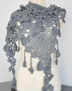 #crochet #scarf #shawl #grey