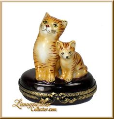Brown Cat & Kitty Limoges Box by Beauchamp Limoges www.LimogesBoxcollector.com