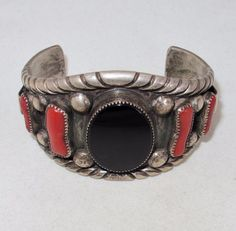 Vintage ? Native American Silver Cuff Bracelet with Red Coral & Onyx  (83…