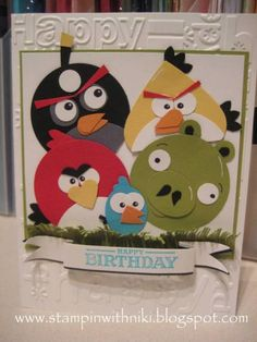 Angry Birds Birthday Card - using Stampin' Up punches Paper Punch Art, Punch Art Cards, Festa Angry Birds, Kids Birthday Cards, Bird Cards, Animal Cards, Copics, Cute Cards, Creative Cards