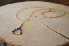 Blue Soldalite Triangle Necklace by Stonelandia on Etsy Triangle Necklace, Arrow Necklace, Pendant Necklace, Jewels, Chain, Beads, Handmade, Blue, Etsy