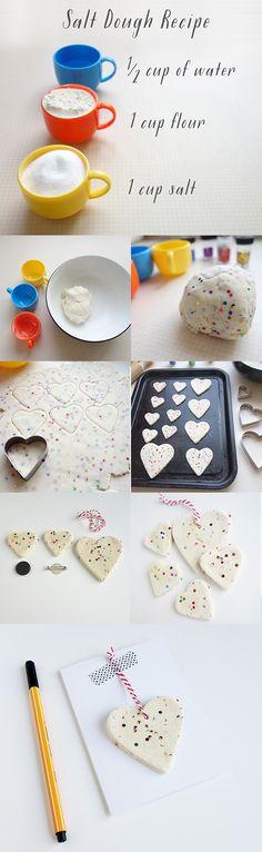 Salt Dough Glitter hearts DIY and recipe on Showpony's blog emmakhenderson.com http://emmakhenderson.com/2015/02/13/diy-salt-dough-glitter-hearts/