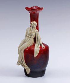Zsolnay C 1920s Eosin Woman Porcelain Vase