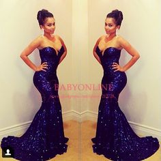 $126.65---2014 Sparkling Sweetheart Dark Blue Long Evening Gowns Sequined Lace Mermaid Prom Dresses 2014 New Arrival With Train