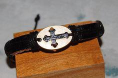 bracelet homme / femme réglable cuir et médaille de bronze,medaille, medaillon, religieux,croix