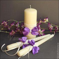 Купить Свечи с кружевом и фиолетовыми бантами - фиолетовый, фиолетовая свадьба, свадьба в фиолетовом, фиолетовые свечи