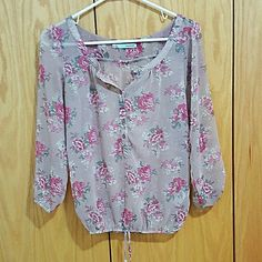 Purple Pink Floral Sheer Blouse Perfect condition. Cinches at the waist Maurices Tops Blouses