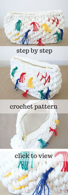 Fun crochet bag pattern zip clutch with colourful strings! This is a step-by-step tutorial with photos on Ravelry!