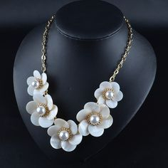 HOT!Stylish chain cheoker pendant bib statement necklace flower women jewelry SC078