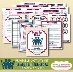 Charades For Family Fun: Family Fun theme (includes 10 printable games, score card, fun snack ideas and more!)