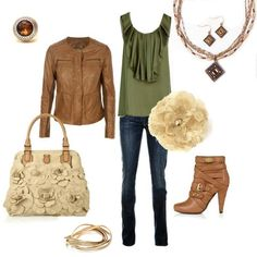 """Amazing... so earthy and feminine! """"Brazil"""" necklace and earrings, """"Flirty"""" bangle bracelet and """"Mink"""" ring ALL by Premier Designs."""