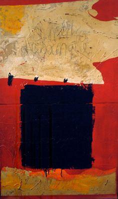 Vermelho de Sangue  -  da série FRACTURAS (Pintura),  100x60 cm por Maria Antónia Santos óleo e técnica mista sobre tela