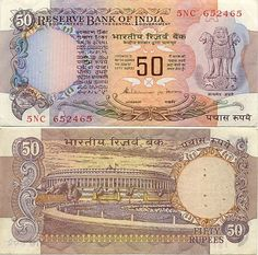 India  50 Rupees (1983-84) (Parliament house)
