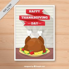 Poster with a delicious dish for thanksgiving day Free Vector