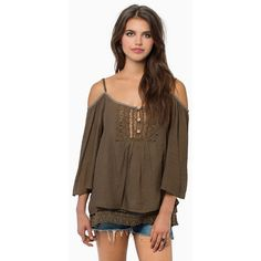 Tobi Juliette Off Shoulder Top ($14) ❤ liked on Polyvore featuring tops, olive, spaghetti strap top, brown tops, off the shoulder tops, olive top and olive green top