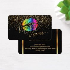#makeupartist #businesscards - #Gold Confetti & Rainbow Lips - Makeup Artist Business Card
