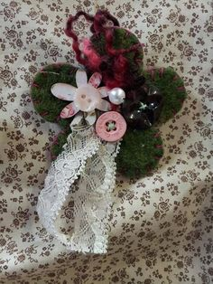 Hey, I found this really awesome Etsy listing at https://www.etsy.com/listing/160570960/felt-corsage-brooch-dark-green-vintage