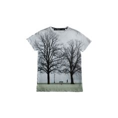 Treeee ($41) ❤ liked on Polyvore featuring tops, t-shirts, shirts, tees, white t shirt, white tee, white graphic tees, print shirts and white short sleeve shirt
