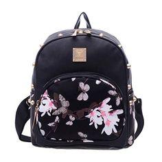 Women Leather Backpack Floral Flower Mochila Backpack Schoolbag for Teenage Girls Female Travel Backpack Rucksack Bolsa Feminina Floral Backpack, Satchel Backpack, Backpack Travel Bag, Black Backpack, Ladies Backpack, Small Backpack, Cute Mini Backpacks, Girl Backpacks, School Bags For Girls
