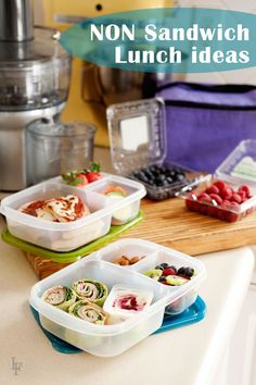 Think Beyond the Sandwich – Non-Sandwich School (and office) Lunch Ideas (substitute meat for tofurkey etc. Lunch Box Bento, Non Sandwich Lunches, Lunch Snacks, Lunch Recipes, Cooking Recipes, Kids Lunch For School, Healthy School Lunches, Work Lunches, Whats For Lunch
