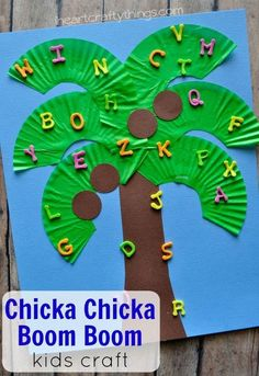 Preschool Crafts for Kids Chicka Chicka Boom Boom Kids Craft. Great craft to go along with a classic children's book. also love how it reinforces the letters of the alphabet for preschoolers. Preschool Projects, Daycare Crafts, Preschool Books, Classroom Crafts, Toddler Crafts, Preschool Activities, Toddler Book Activities, Preschool Weekly Themes, Creative Curriculum Preschool