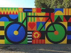 BIKES 4 HUMANITY by Craig Redman and Karl Maier Craig lives in NYC and Karl in London. They collaborate daily and specialise in bold humorous illus Graffiti Art, Craig And Karl, Art Rupestre, Street Art Love, School Murals, Art Textile, Nyc, Bicycle Art, Mural Wall Art