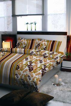Pościel satynowa Valentini Bianco NICEA BROWN, 220x200 + 2x70x80 cm, 100% bawełna.