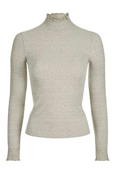 PETITE Long Sleeve Frill Neck Top