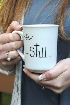 Calligraphy mug 8oz mug coffee mug white coffee mug by WhimsyBleu