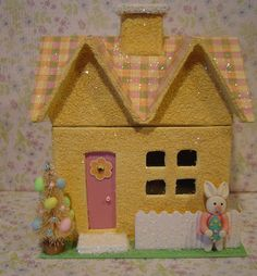 Easter Paper Mache Lt Yellow Glitter by thesaltboxcollection Easter Arts And Crafts, Diy And Crafts, Putz Houses, Village Houses, Christmas Villages, Christmas Houses, Christmas Crafts, Christmas Decorations, Yellow Glitter