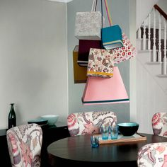 DIY fabric covered lanterns and gorgeous floral chairs
