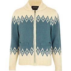 Ecru shawl collar retro pattern cardigan - knitwear - sale - £20- RI