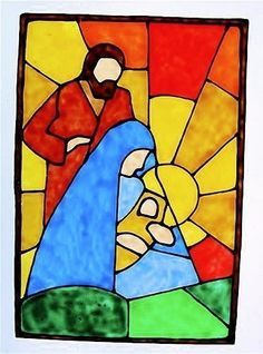 nativity stained glass window | Items similar to Nativity Window Cling Suncatcher with ...
